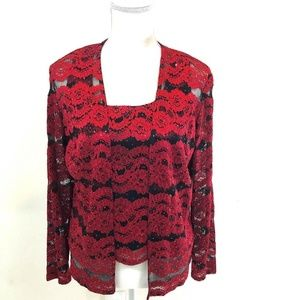 Dressbarn Black & Red Top and Sweater Set SZ 12
